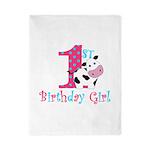 1st Birthday Girl Cow Twin Duvet
