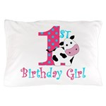 1st Birthday Girl Cow Pillow Case