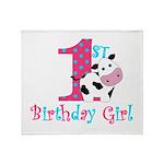 1st Birthday Girl Cow Throw Blanket
