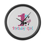 1st Birthday Girl Cow Large Wall Clock