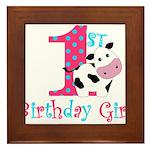 1st Birthday Girl Cow Framed Tile