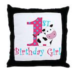 1st Birthday Girl Cow Throw Pillow