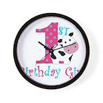 1st Birthday Girl Cow Wall Clock