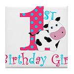 1st Birthday Girl Cow Tile Coaster