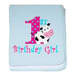 1st Birthday Girl Cow baby blanket