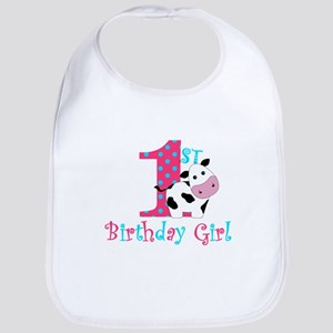 1st Birthday Girl Cow Bib