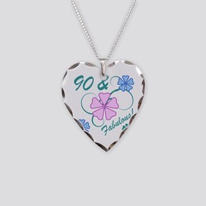 Fabulous 90th Birthday Necklace Heart Charm