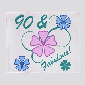 Fabulous 90th Birthday Throw Blanket
