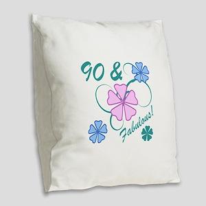 Fabulous 90th Birthday Burlap Throw Pillow
