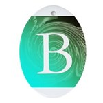 Personalizable Inital on Teal Ornament (Oval)