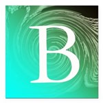 Personalizable Inital on Teal Square Car Magnet 3