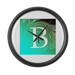 Personalizable Inital on Teal Large Wall Clock