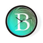 Personalizable Inital on Teal Wall Clock