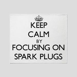 Keep Calm by focusing on Spark Plugs Throw Blanket