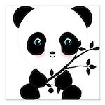 Black and White Panda Bear Square Car Magnet 3