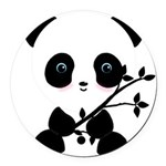 Black and White Panda Bear Round Car Magnet