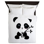 Black and White Panda Bear Queen Duvet