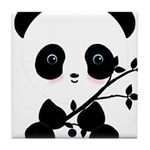 Black and White Panda Bear Tile Coaster