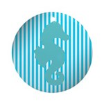 Seahorse on Aged Teal Stripes Ornament (Round)