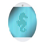 Seahorse on Aged Teal Stripes Ornament (Oval)