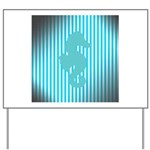 Seahorse on Aged Teal Stripes Yard Sign