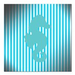 Seahorse on Aged Teal Stripes Square Car Magnet 3