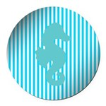 Seahorse on Aged Teal Stripes Round Car Magnet