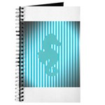 Seahorse on Aged Teal Stripes Journal