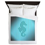 Seahorse on Aged Teal Stripes Queen Duvet