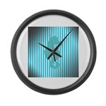 Seahorse on Aged Teal Stripes Large Wall Clock