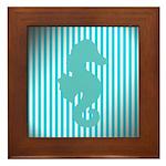 Seahorse on Aged Teal Stripes Framed Tile