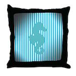Seahorse on Aged Teal Stripes Throw Pillow