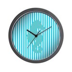Seahorse on Aged Teal Stripes Wall Clock