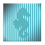 Seahorse on Aged Teal Stripes Tile Coaster