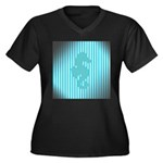 Seahorse on Aged Teal Stripes Plus Size T-Shirt