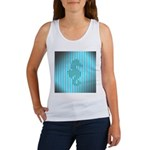Seahorse on Aged Teal Stripes Tank Top