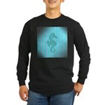 Seahorse on Aged Teal Stripes Long Sleeve T-Shirt