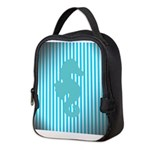 Seahorse on Aged Teal Stripes Neoprene Lunch Bag