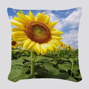 Sunflower Garden Woven Throw Pillow