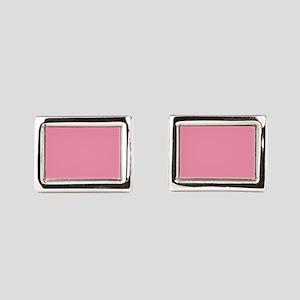 Salmon Pink Solid Color Rectangular Cufflinks