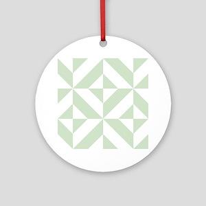 Sage Green Geometric Cube Pattern Round Ornament