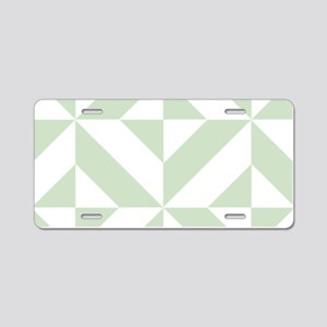 Sage Green Geometric Cube P Aluminum License Plate