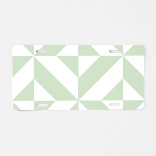 Sage Green Geometric Cube P Aluminum License Plate