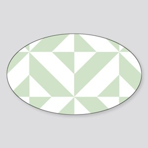 Sage Green Geometric Cube Pattern Sticker (Oval)