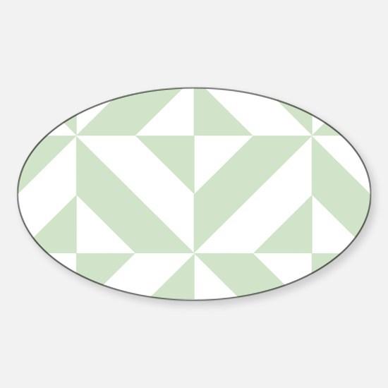 Sage Green Geometric Cube Pattern Sticker (Oval)