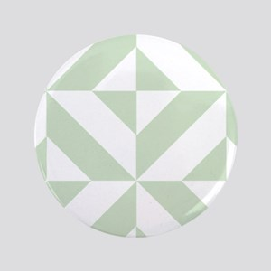 Sage Green Geometric Cube Pattern Button