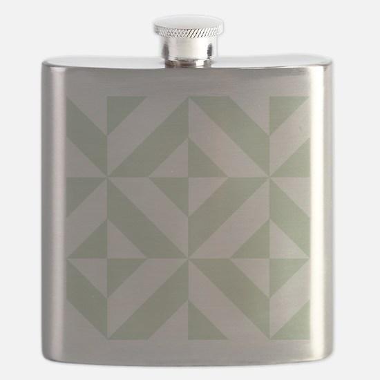Sage Green Geometric Cube Pattern Flask