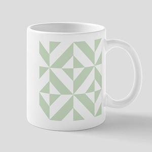 Sage Green Geometric Cube Pattern Mug