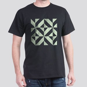 Sage Green Geometric Cube Pattern Dark T-Shirt
