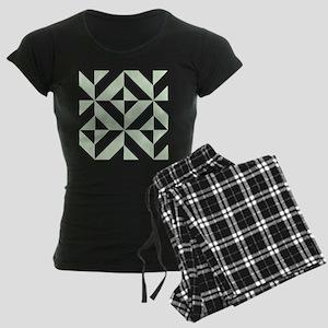 Sage Green Geometric Cube Pa Women's Dark Pajamas
